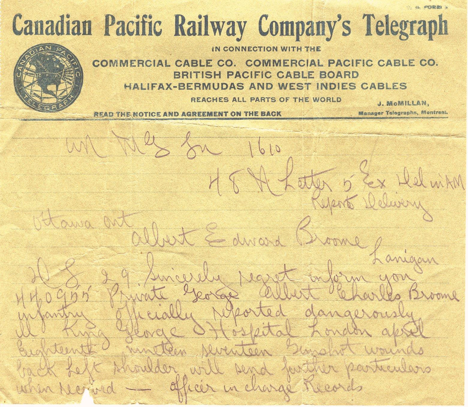 Broome, George Albert Charles - Telegrams | Canadian Letters Pacific Railway Company