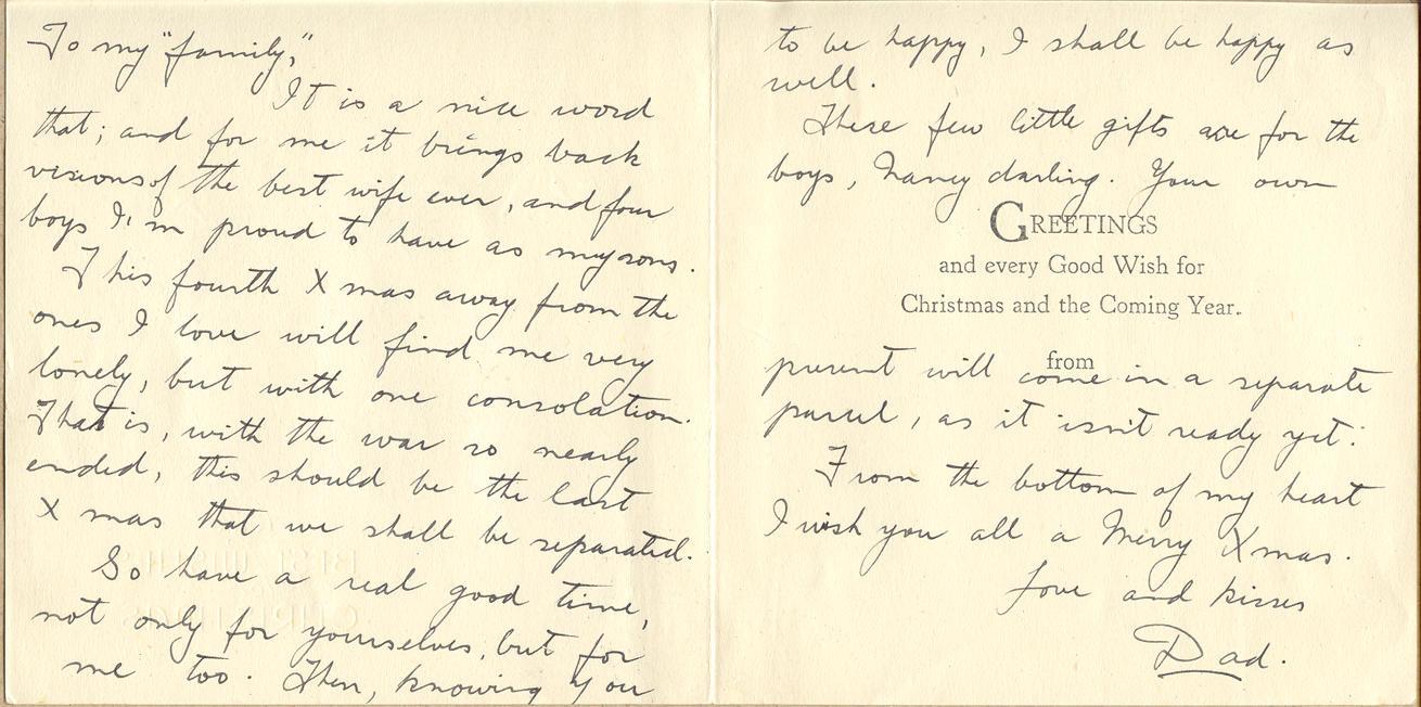 Freeman Joseph Mack Personal Items Canadian Letters