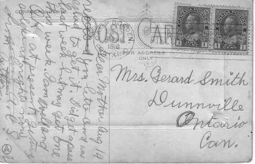 Smith arthur calvin postcards canadian letters back of greetings postcard m4hsunfo