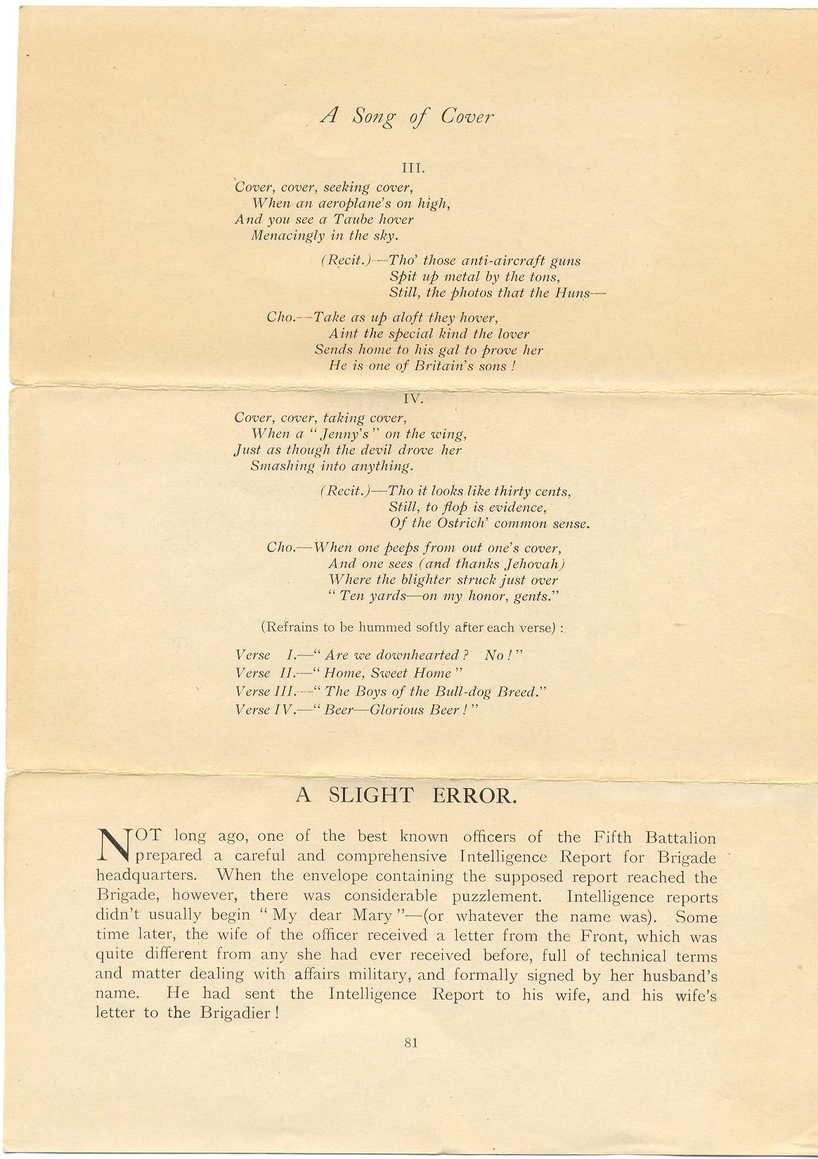 Page 1 Printed Matter From 5th Canadian Battalion 1st Division A Song Of Cover Slight Error