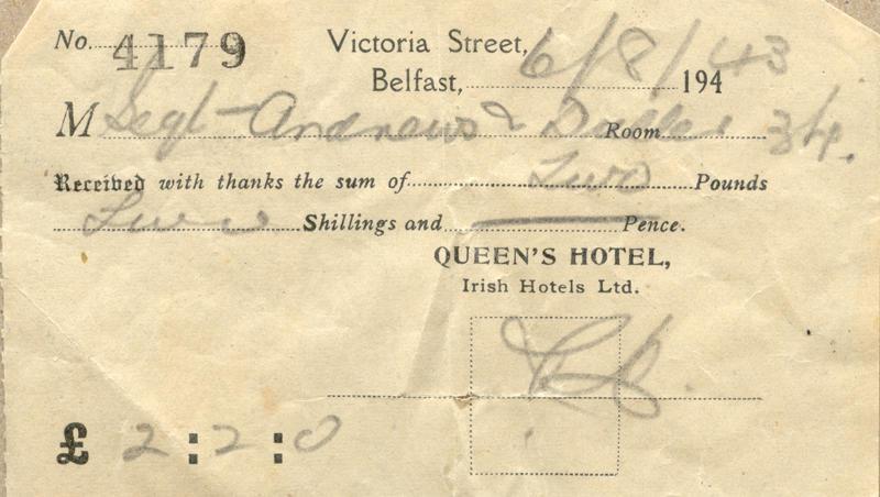 Hotel Bill, Aug. 6, 1943