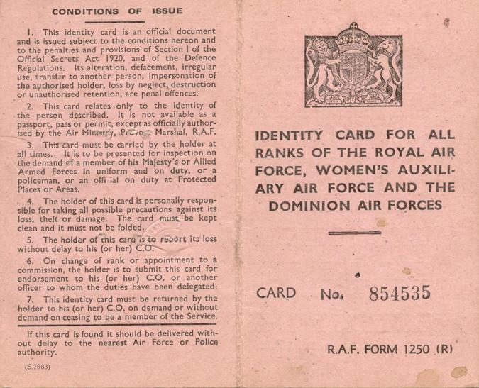 RAF Identification Card, front