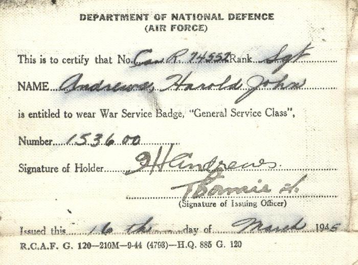 Air Force Identification Card, front
