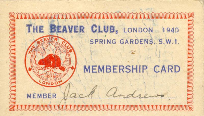 The Beaver Club Membership Card