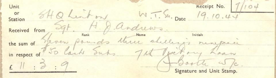 Receipt, Oct. 19, 1944