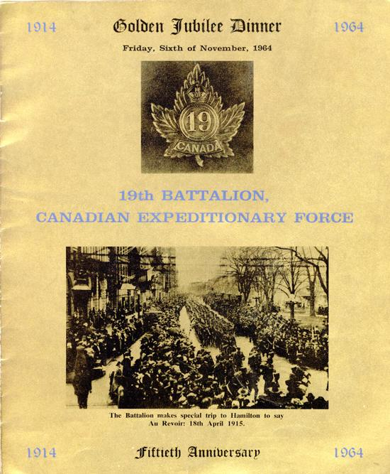 19th Battalion Golden Jubliee, cover