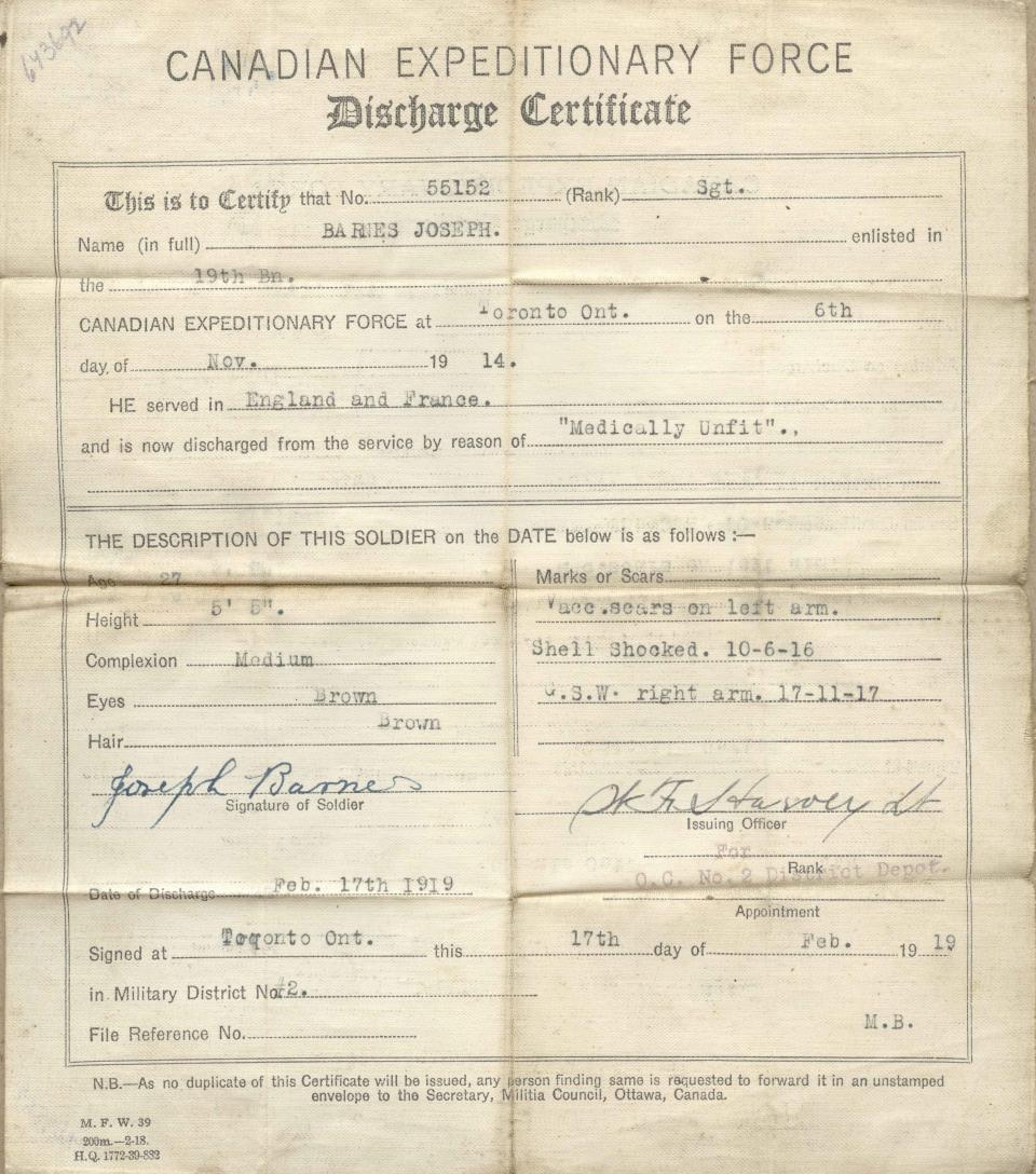 Discharge certificate, 1919, front.
