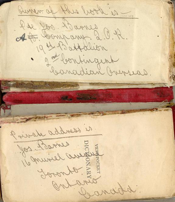 Pocket dictionary, inside cover