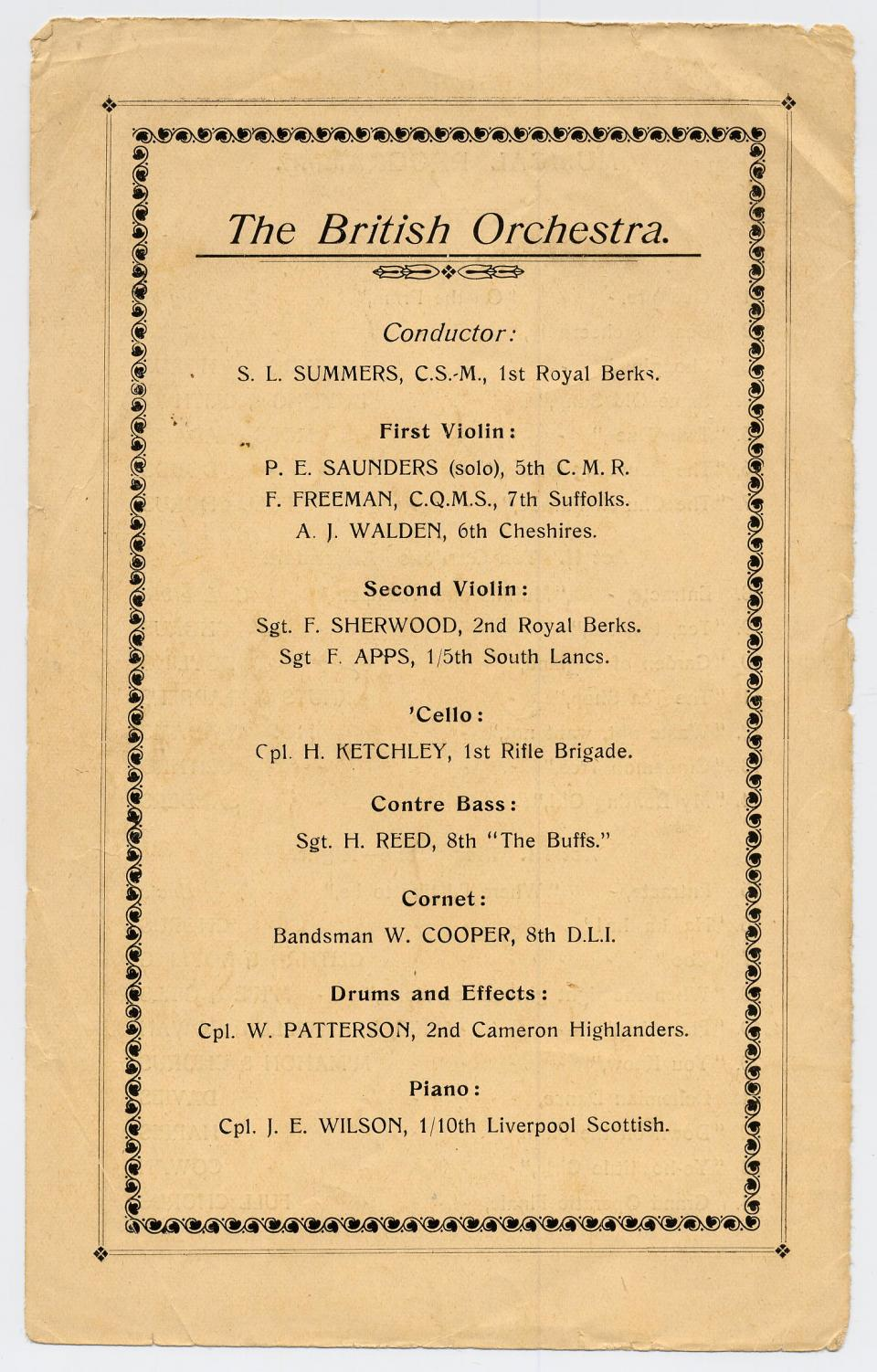 Program, The British Musical, Rennbahn Prisoner of War Camp