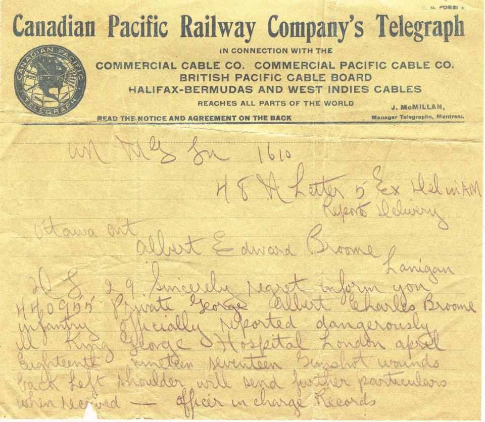Canadian Pacific Railway Company's Telegraph Regarding the seriousness  of Broome's gunshot wounds