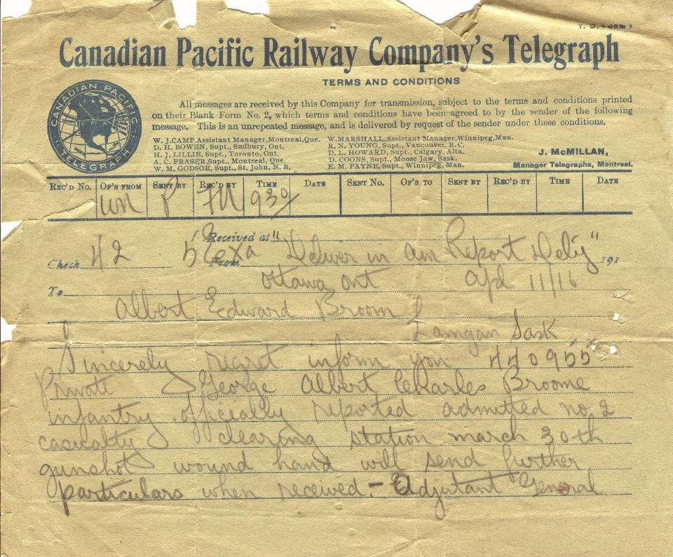 Canadian Pacific Railway Company's Telegraph Regarding gunshot wound to hand April 11, 1916
