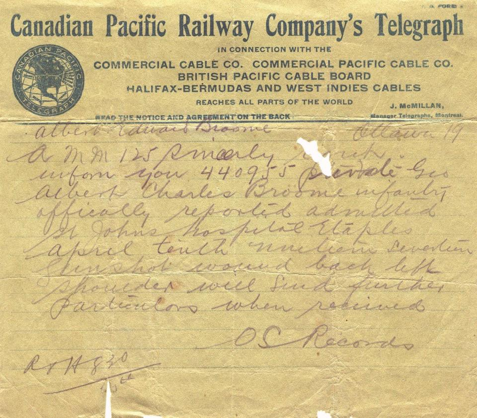 Canadian Pacific Railway Company's Telegraph Regarding admittance to St. Johns Hospital April 10, 1917