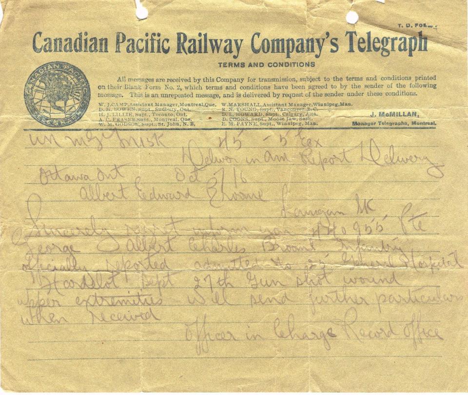 Canadian Pacific Railway Company's Telegraph Regarding admittance to hospital Oct. 7, 1916