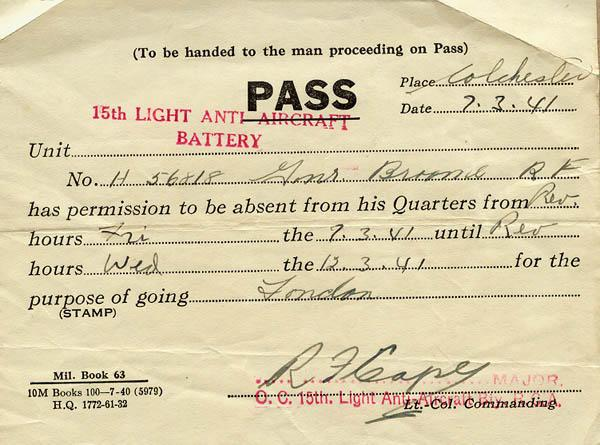 Pass, March 7, 1941