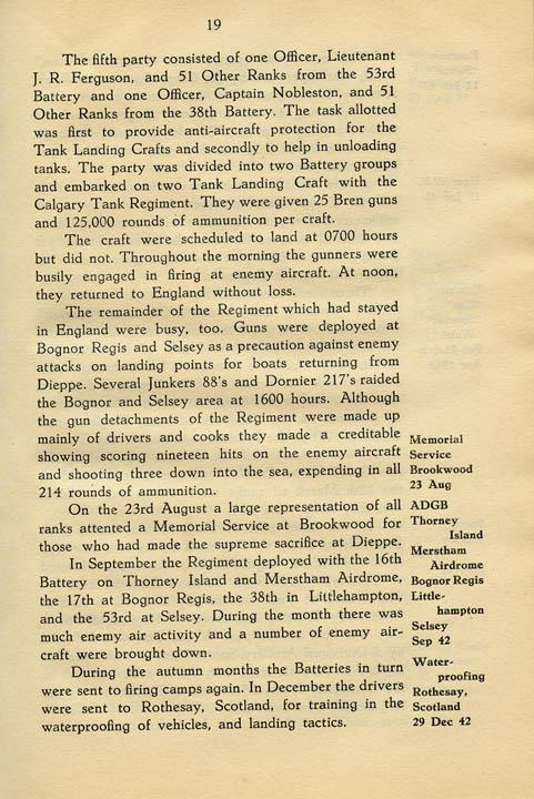 Regimental History, pg 19