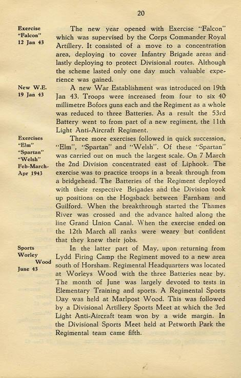 Regimental History, pg 20