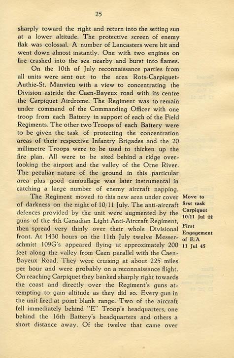 Regimental History, pg 25