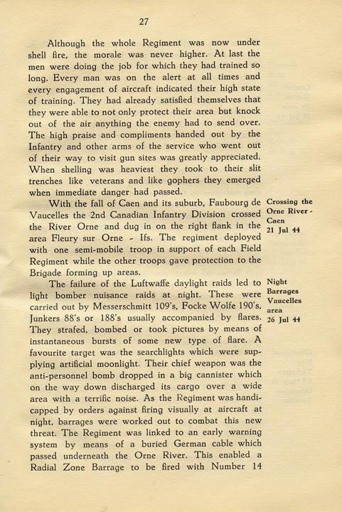 Regimental History, pg 27