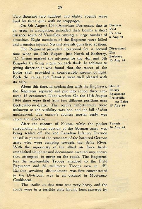 Regimental History, pg 29
