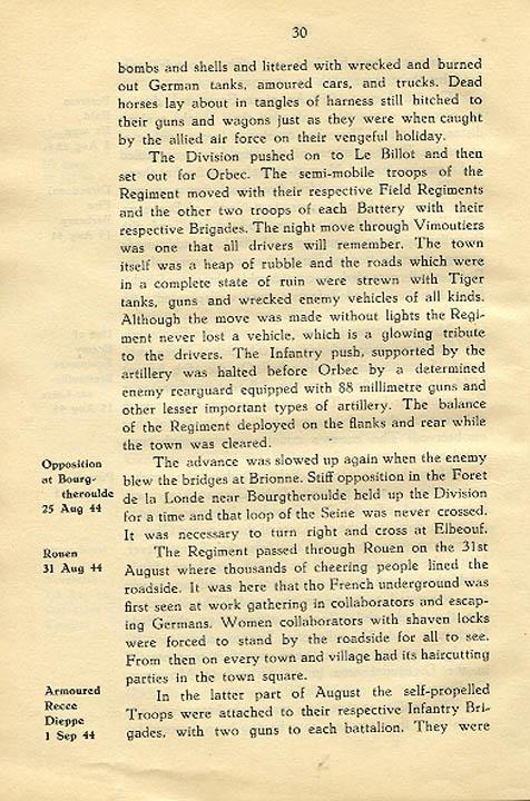 Regimental History, pg 30