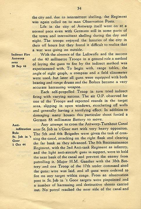 Regimental History, pg 34