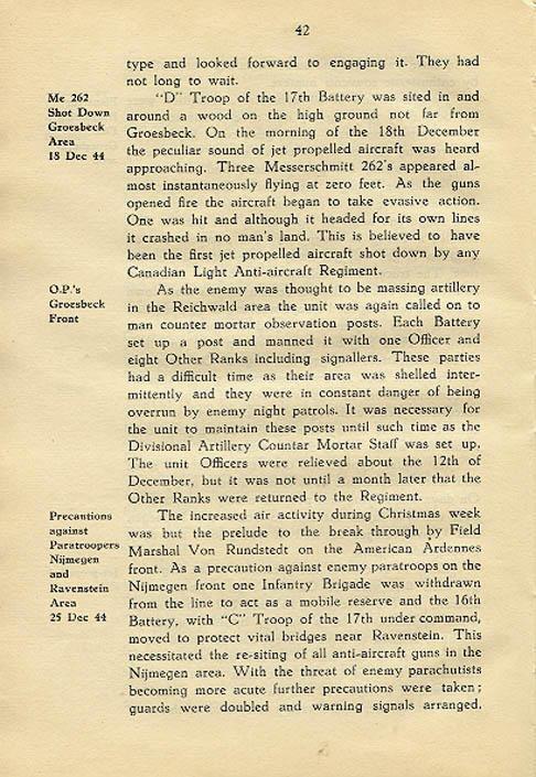 Regimental History, pg 42
