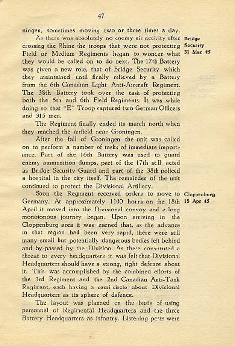 Regimental History, pg 47