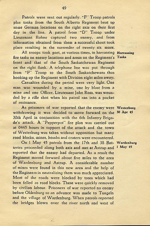 Regimental History, pg 49