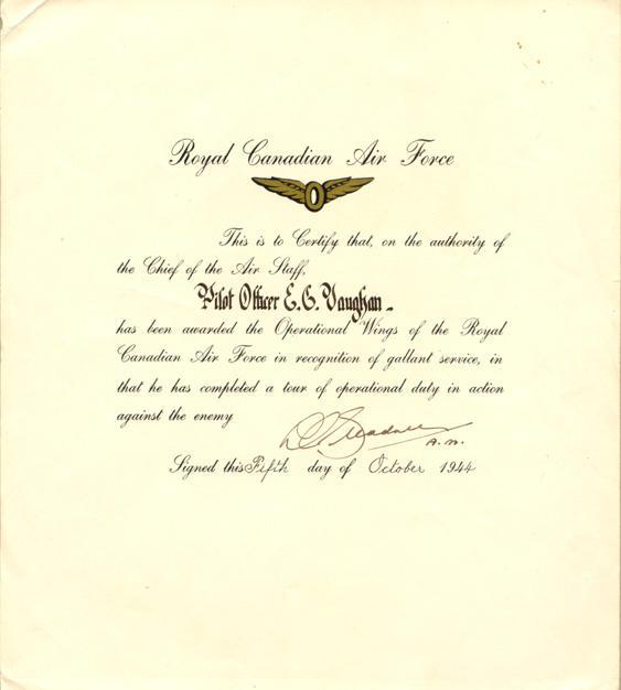 RCAF certificate, October 5, 1944.