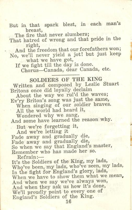 Winnipeg Rifles Songbook, nd, page 16