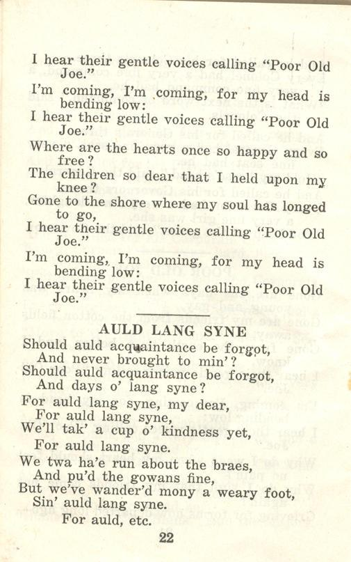 Winnipeg Rifles Songbook, nd, page 22