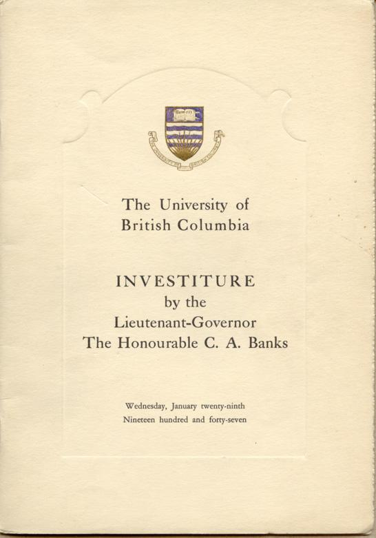 Investiture Program cover, January 29, 1947.