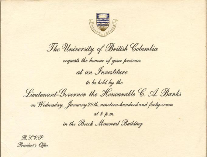 Investiture Invitation, January, 1947.