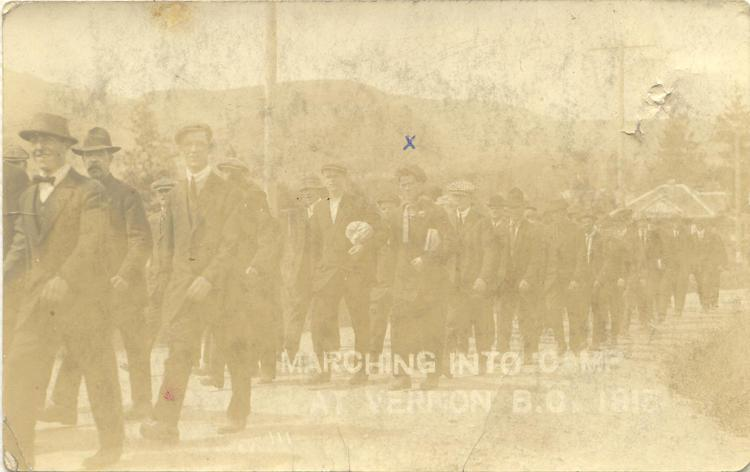 n.d. 18, Marching to camp at Vernon BC