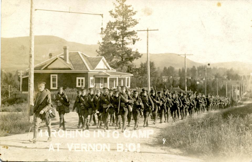 n.d. 7, Marching into camp at Vernon BC