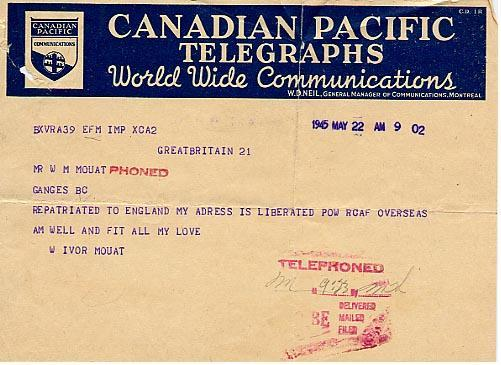 Repatriated to England my address is liberated RCAF overseas.  Am well and fit.  All my love. W. Ivor Mouat