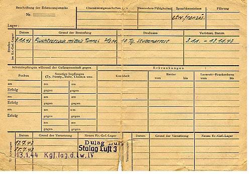 Prisoner of war identity card (back)