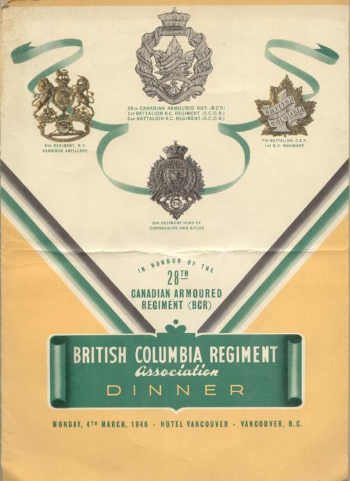 Programme - 28th Canadian Armoured Regiment - B.C. Regiment Association Dinner, 1946