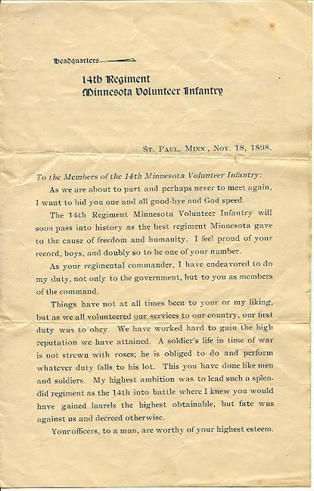 St Paul Minn, Nov 18th 1898 14th Minnesota Regiment Volunteer  Front