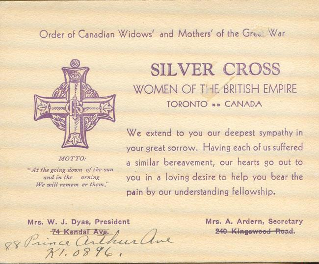 Thomas Scandiffio, Silver Cross Card, nd.