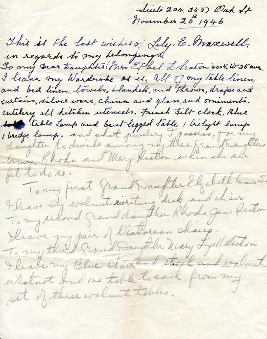 Simpkins, Lily, will, November 20, 1946.
