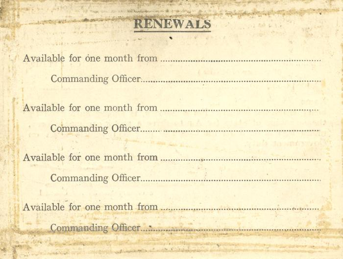 Air Ministry Identification Card, back