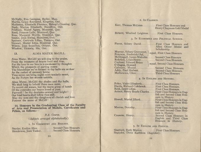 Convocation program, May 12, 1922, 10-11.