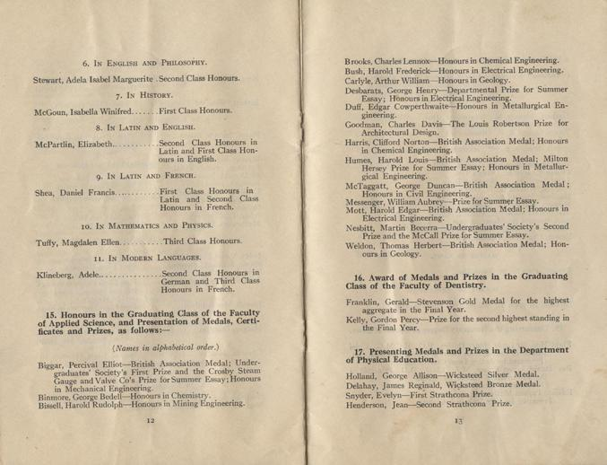 Convocation program, May 12, 1922, 12-13.
