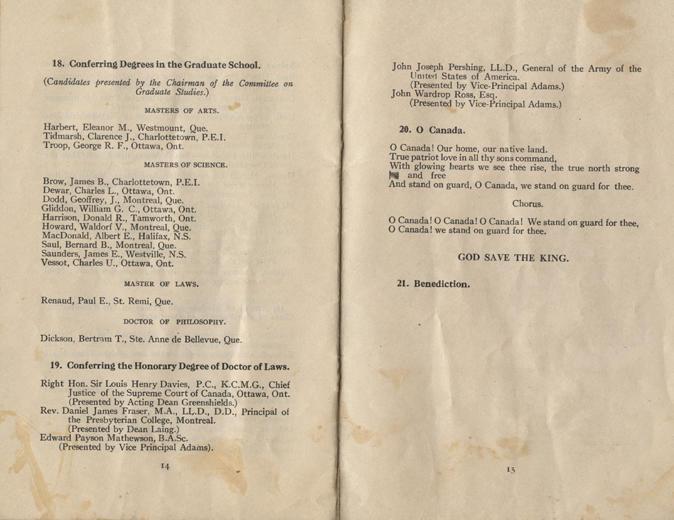 Convocation program, May 12, 1922, 14-15.