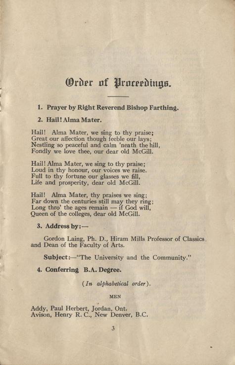 Convocation program, May 12, 1922, 3.