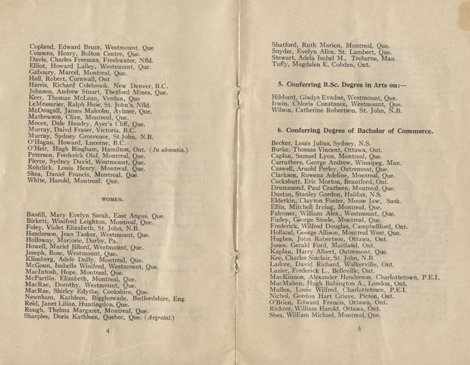 Convocation program, May 12, 1922, 4-5.