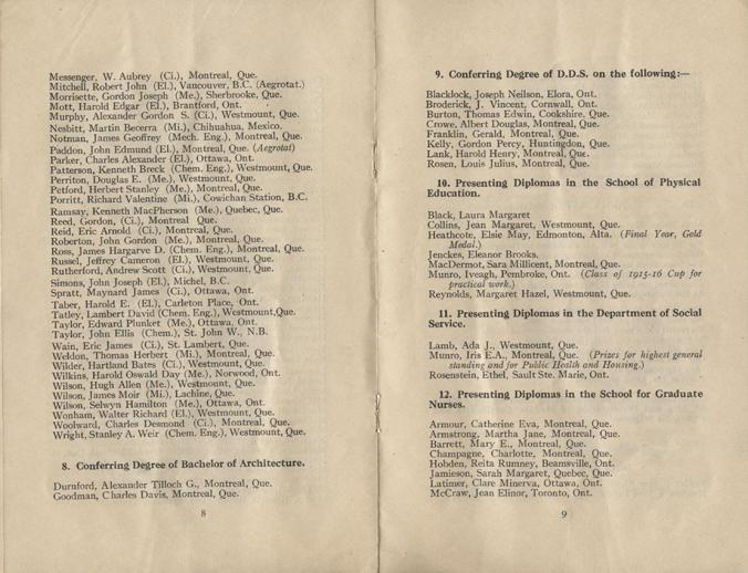Convocation program, May 12, 1922, 8-9.