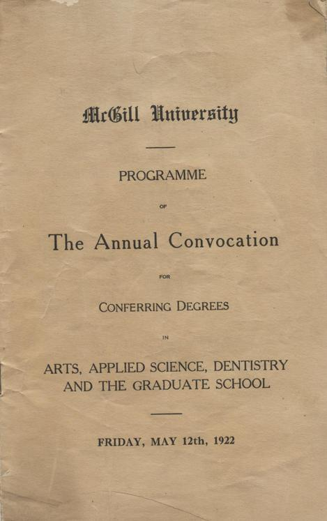 Convocation program, May 12, 1922, cover.