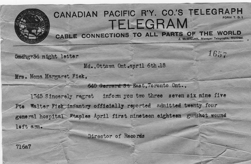 Telegram of his wounding, April 6, 1918.